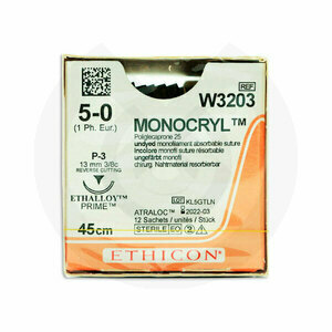 Product - SUTURA MONOCRYL W3203 5/0 P-3 3/8C - 13MM, 45CM.
